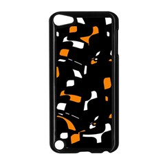 Orange, Black And White Pattern Apple Ipod Touch 5 Case (black) by Valentinaart