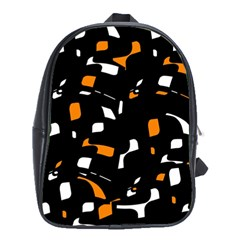 Orange, Black And White Pattern School Bags (xl)  by Valentinaart