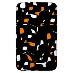 Orange, Black And White Pattern Samsung Galaxy Tab 3 (8 ) T3100 Hardshell Case  by Valentinaart