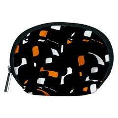 Orange, Black And White Pattern Accessory Pouches (medium)  by Valentinaart