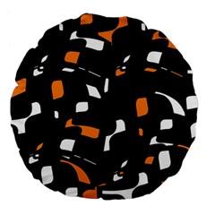 Orange, Black And White Pattern Large 18  Premium Flano Round Cushions by Valentinaart