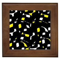 Yellow, Black And White Pattern Framed Tiles by Valentinaart
