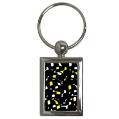 Yellow, Black And White Pattern Key Chains (rectangle)  by Valentinaart