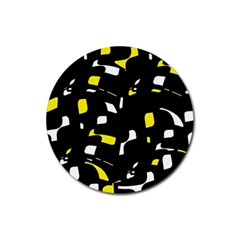 Yellow, Black And White Pattern Rubber Coaster (round)  by Valentinaart