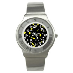 Yellow, Black And White Pattern Stainless Steel Watch by Valentinaart