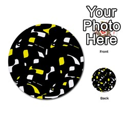 Yellow, Black And White Pattern Multi Purpose Cards (round)