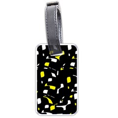 Yellow, Black And White Pattern Luggage Tags (one Side)  by Valentinaart
