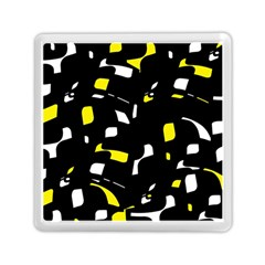 Yellow, Black And White Pattern Memory Card Reader (square)  by Valentinaart