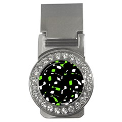 Green, Black And White Pattern Money Clips (cz)  by Valentinaart