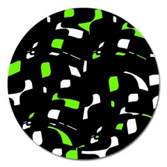 Green, Black And White Pattern Magnet 5  (round) by Valentinaart