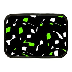 Green, Black And White Pattern Netbook Case (medium)  by Valentinaart