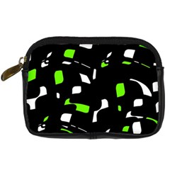 Green, Black And White Pattern Digital Camera Cases by Valentinaart