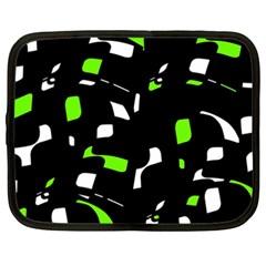 Green, Black And White Pattern Netbook Case (xxl)  by Valentinaart