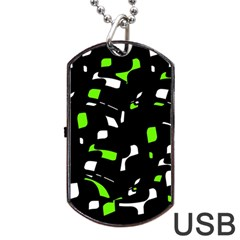 Green, black and white pattern Dog Tag USB Flash (Two Sides)  by Valentinaart