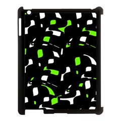 Green, Black And White Pattern Apple Ipad 3/4 Case (black) by Valentinaart