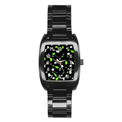 Green, Black And White Pattern Stainless Steel Barrel Watch by Valentinaart