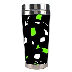 Green, Black And White Pattern Stainless Steel Travel Tumblers by Valentinaart