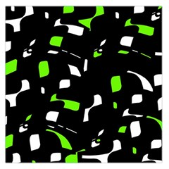 Green, Black And White Pattern Large Satin Scarf (square) by Valentinaart