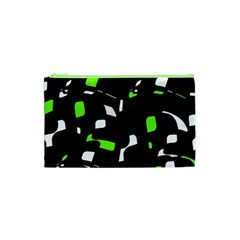 Green, Black And White Pattern Cosmetic Bag (xs) by Valentinaart