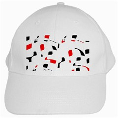 White, Red And Black Pattern White Cap by Valentinaart