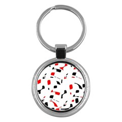White, Red And Black Pattern Key Chains (round)  by Valentinaart