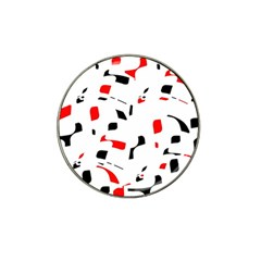 White, Red And Black Pattern Hat Clip Ball Marker (4 Pack) by Valentinaart