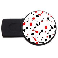White, Red And Black Pattern Usb Flash Drive Round (4 Gb)  by Valentinaart