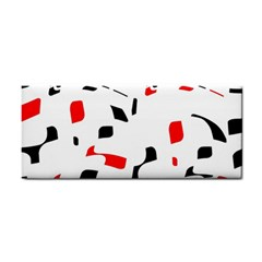 White, Red And Black Pattern Hand Towel by Valentinaart