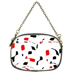 White, Red And Black Pattern Chain Purses (one Side)  by Valentinaart