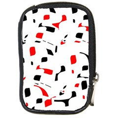 White, Red And Black Pattern Compact Camera Cases by Valentinaart