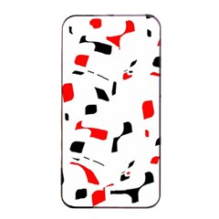 White, Red And Black Pattern Apple Iphone 4/4s Seamless Case (black) by Valentinaart