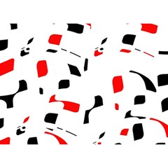 White, Red And Black Pattern Birthday Cake 3d Greeting Card (7x5)  by Valentinaart