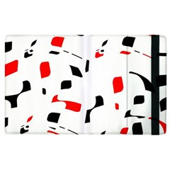 White, Red And Black Pattern Apple Ipad 3/4 Flip Case by Valentinaart