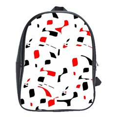 White, Red And Black Pattern School Bags (xl)  by Valentinaart
