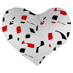White, Red And Black Pattern Large 19  Premium Heart Shape Cushions by Valentinaart