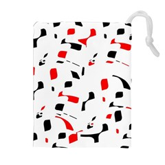 White, Red And Black Pattern Drawstring Pouches (extra Large) by Valentinaart