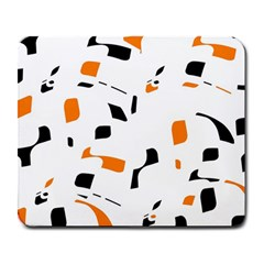 Orange, White And Black Pattern Large Mousepads by Valentinaart