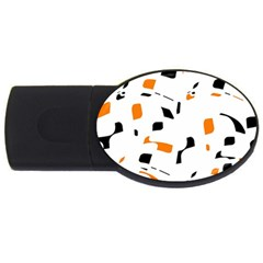 Orange, White And Black Pattern Usb Flash Drive Oval (4 Gb)  by Valentinaart