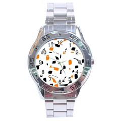 Orange, White And Black Pattern Stainless Steel Analogue Watch by Valentinaart