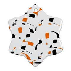 Orange, White And Black Pattern Ornament (snowflake)  by Valentinaart