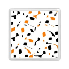 Orange, White And Black Pattern Memory Card Reader (square)  by Valentinaart