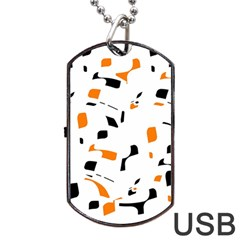 Orange, White And Black Pattern Dog Tag Usb Flash (one Side) by Valentinaart