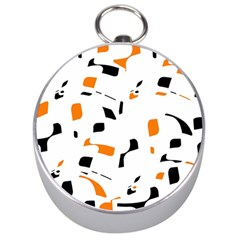 Orange, white and black pattern Silver Compasses by Valentinaart