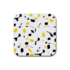 Yellow, Black And White Pattern Rubber Coaster (square)  by Valentinaart