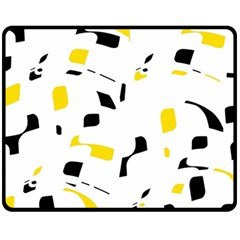 Yellow, black and white pattern Fleece Blanket (Medium)  by Valentinaart