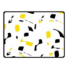 Yellow, Black And White Pattern Fleece Blanket (small) by Valentinaart