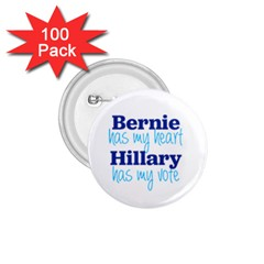 Bernie Has My Heart, Hillary Has My Vote 1 75  Button (100 Pack) by blueamerica