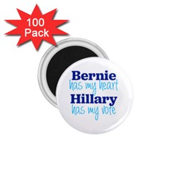Bernie Has My Heart, Hillary Has My Vote 1 75  Button Magnet (100 Pack) by blueamerica