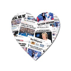 Hillary 2016 Historic Newspaper Collage Heart Magnet by blueamerica