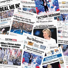 Hillary 2016 Historic Newspaper Collage Canvas 12  X 12   by blueamerica